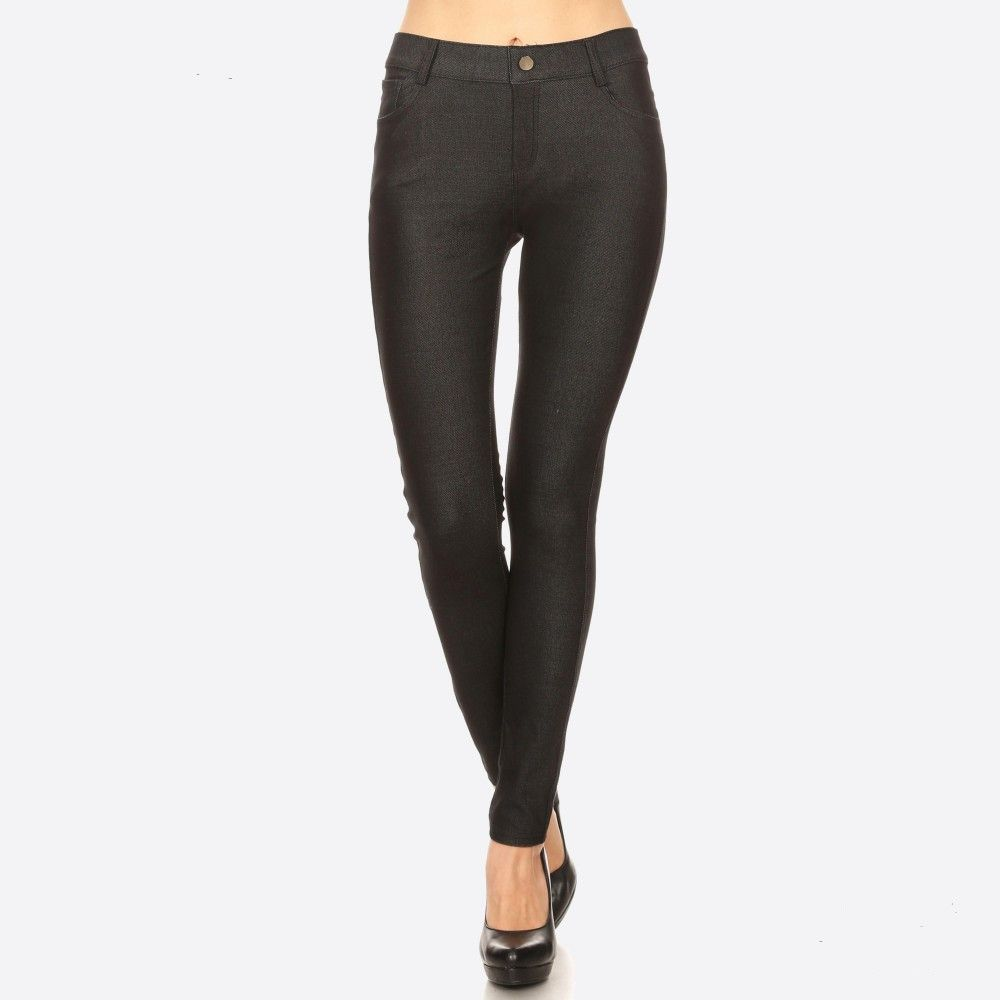 af23bc5c1569a These jeggings are styled to resemble a pair of jeans. Get both comfort and  style! • Full length jeggings featuring a light sheen and jean-style ...