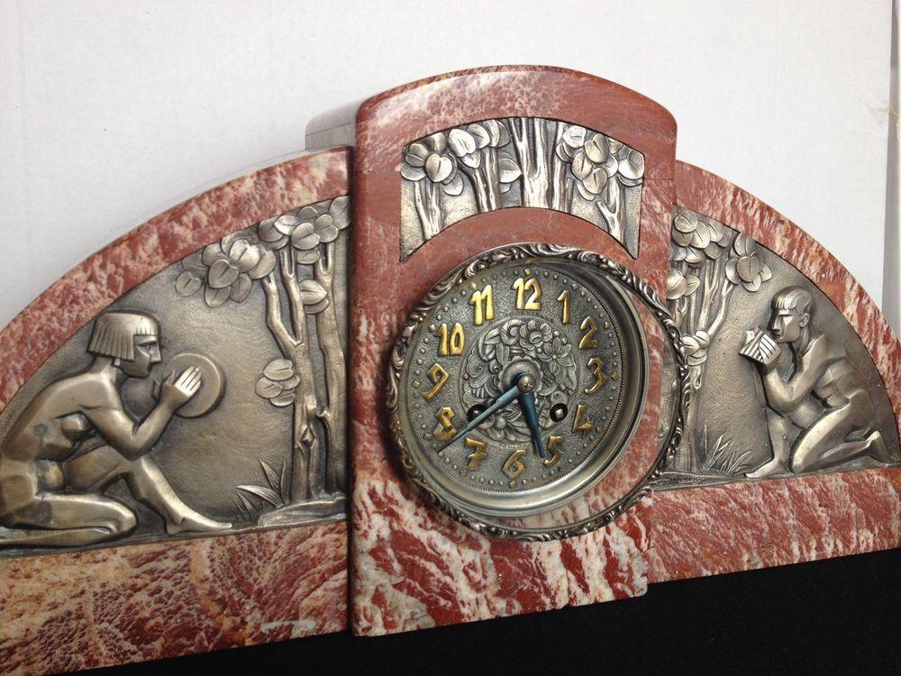rare pendule horloge borne art deco clock mantel bronze marbre g mourot art deco clocks and. Black Bedroom Furniture Sets. Home Design Ideas