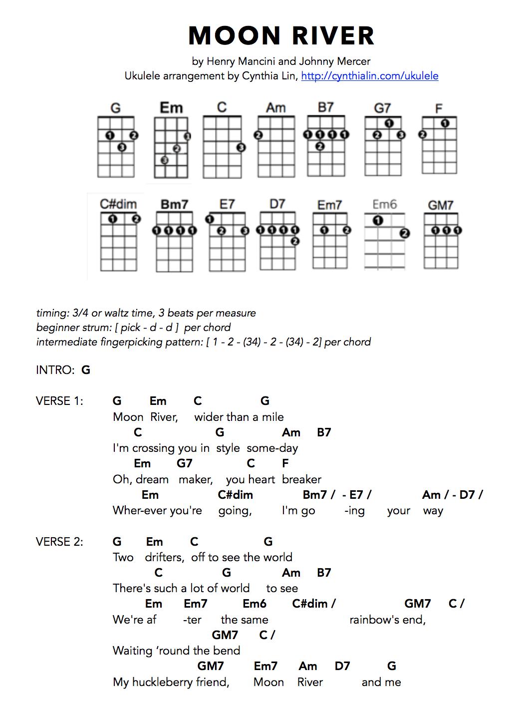Moon River Ukulele Songs Ukulele Chords Songs Easy Ukulele Songs