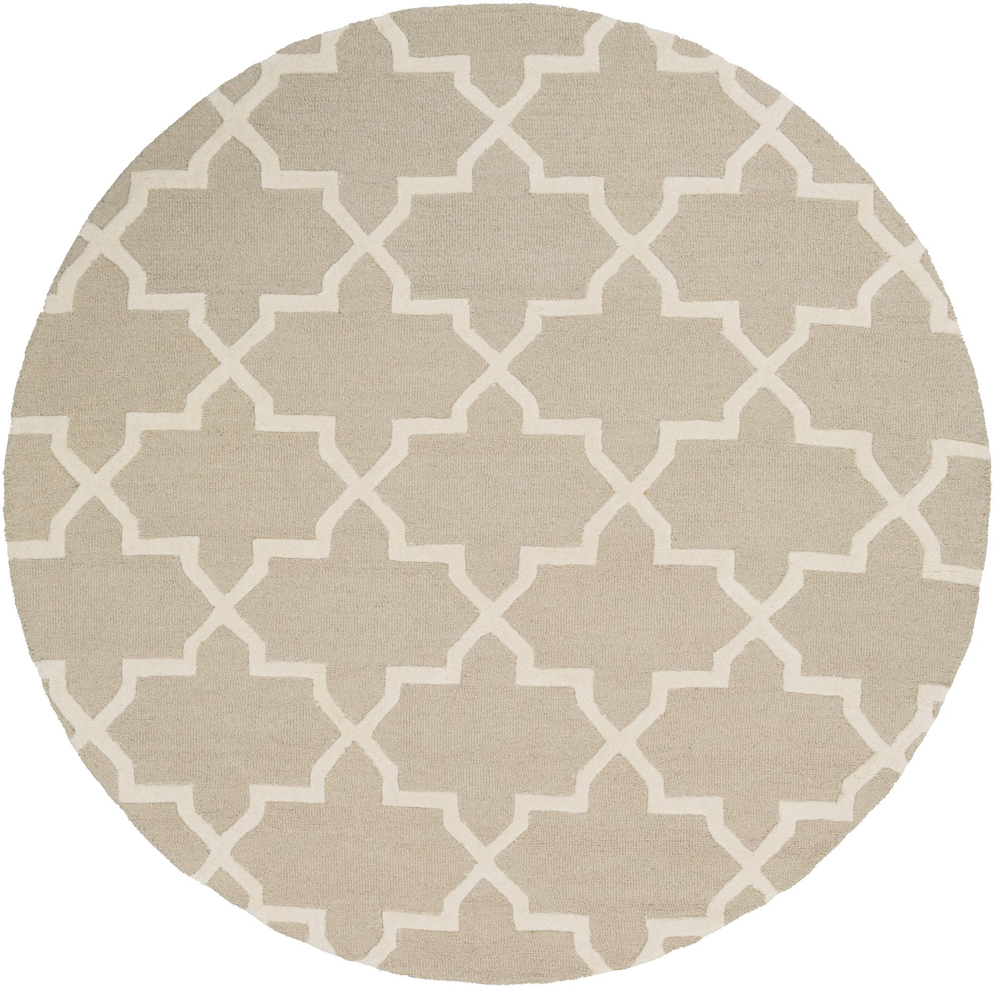 Galinda Beige Geometric Wool Hand-Tufted Area Rug