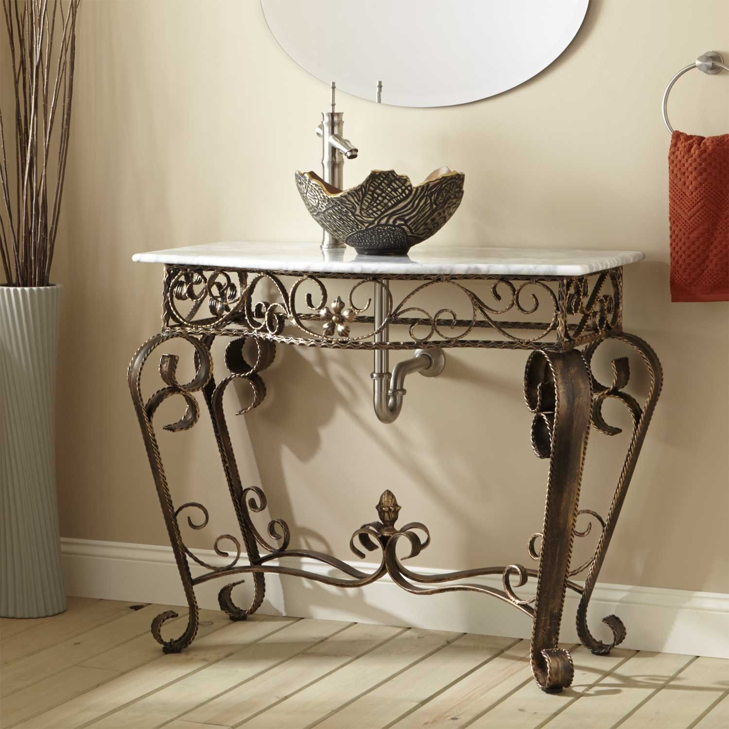 Vanna Wrought Iron Console Vanity For Vessel Sink With Marble Top Vessel Sink Marble Top And