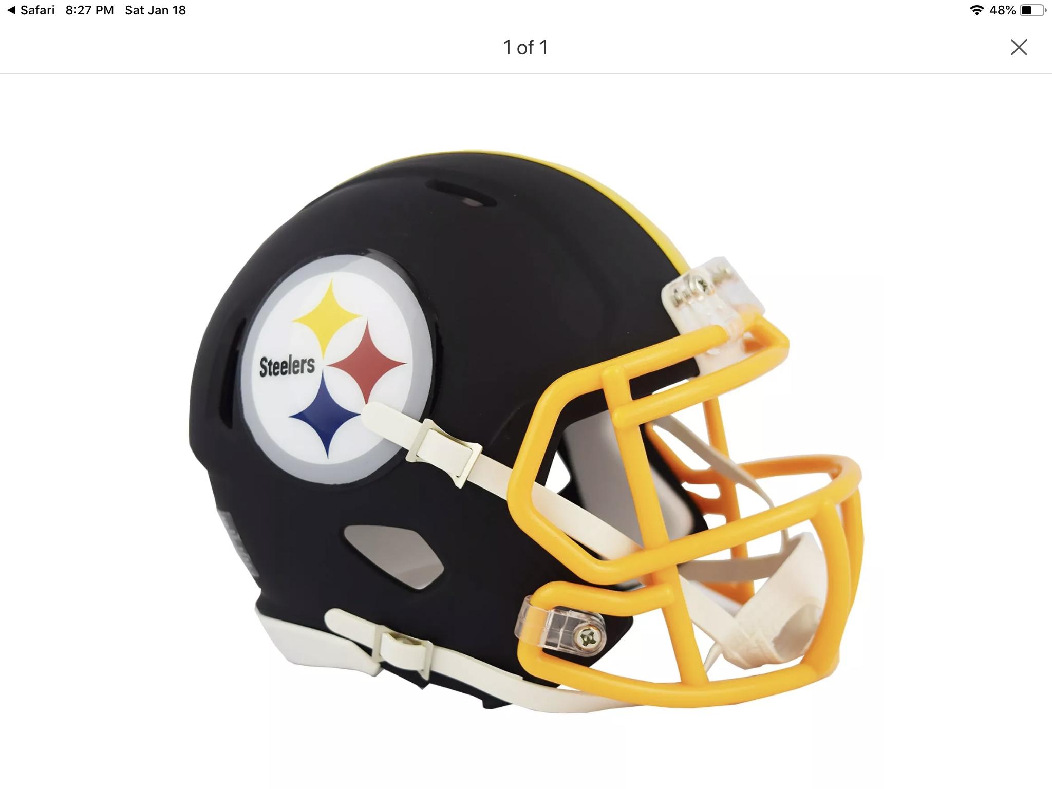 Steelers Black Matte Football Helmets Helmet Steelers