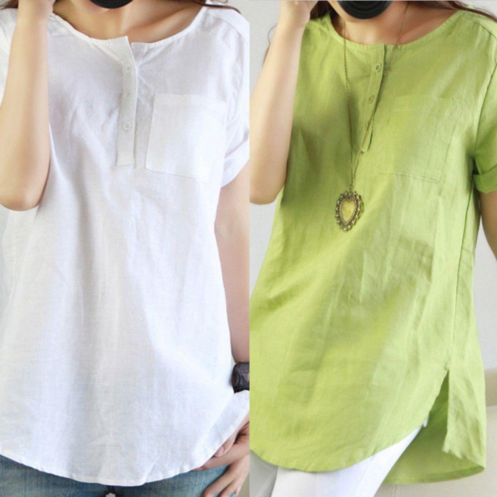 Women Summer Bohemia Cotton Linen Top Casual Asymmetric Blouse T Shirt Tee Plus