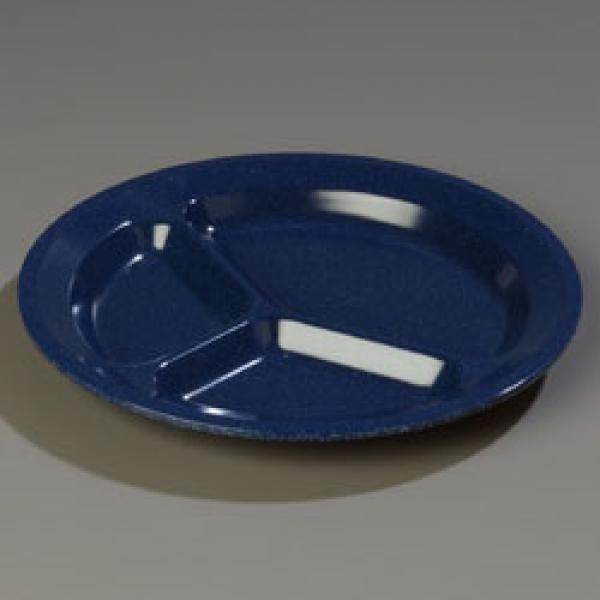 Dallas Ware® Compartment Plate, 11 dia., 3 compartments, reinforced rim and foot #dishware