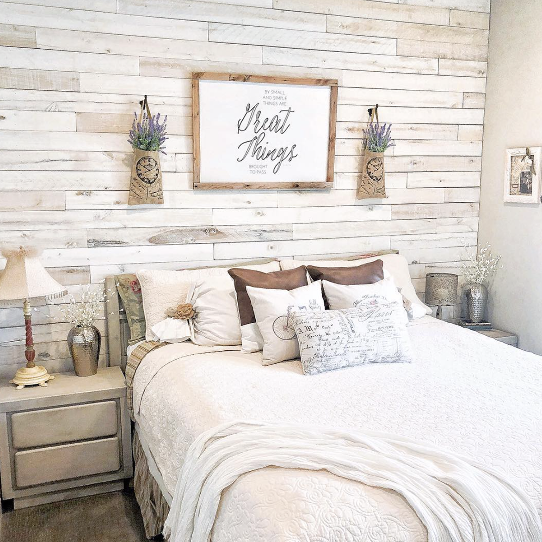 Create A Master Bedroom Wood Wall With Our White Wash Boards It S Easy And It S Beautiful In 2020 Interior Design Living Room Warm Home Decor Inexpensive Home Decor