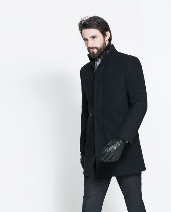 b18ac0f6 ZARA - MAN - KNITTED COAT WITH HIGH COLLAR   Men's Style   Knitted ...