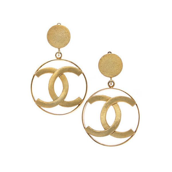 Chanel Large Logo Earrings Liked On Polyvore Featuring Jewelry