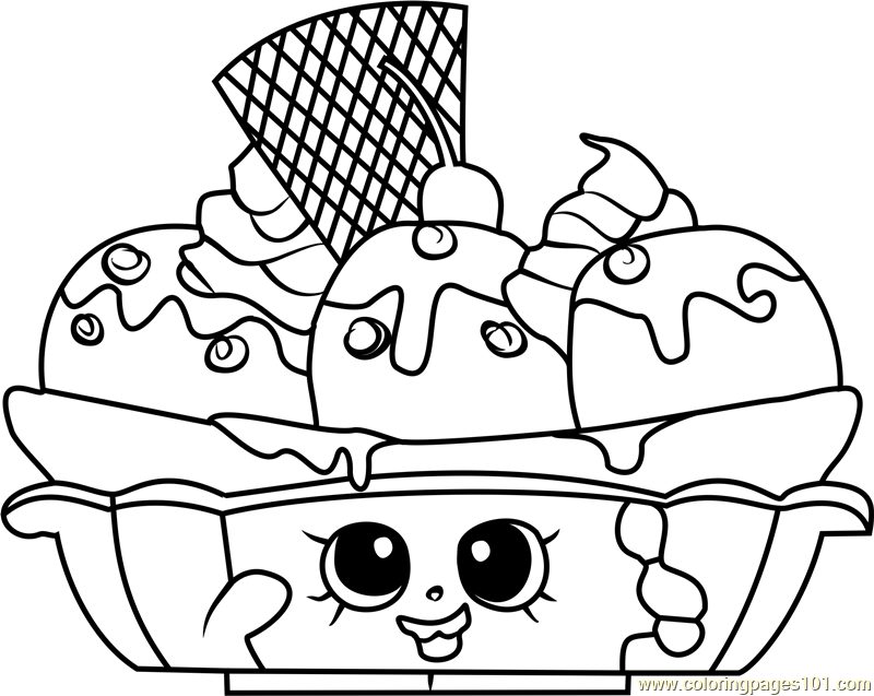 graphic regarding Free Printable Shopkins Coloring Pages referred to as Banana Splitty Shopkins Coloring Website page Absolutely free Shopkins Clip