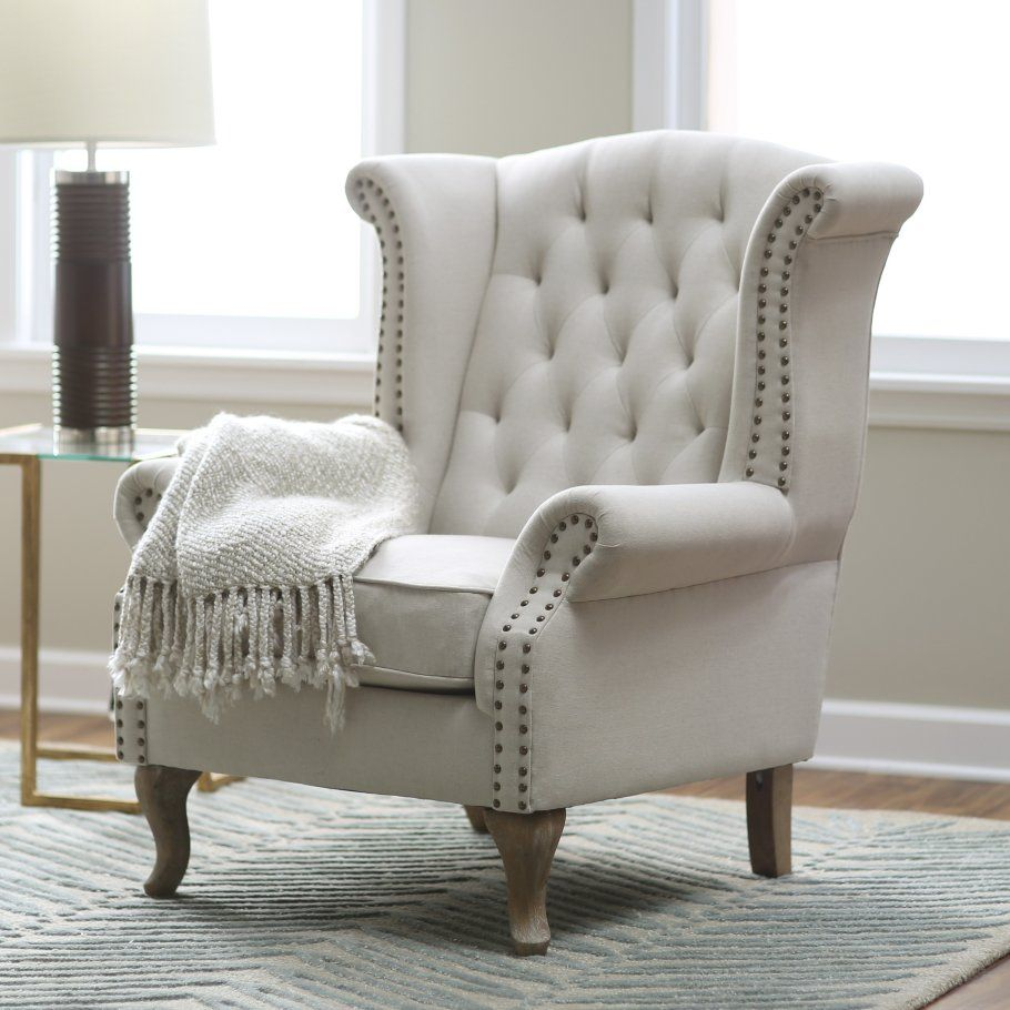 Amazing Chic Light Gray Tufted Fabric Wingback Chair With