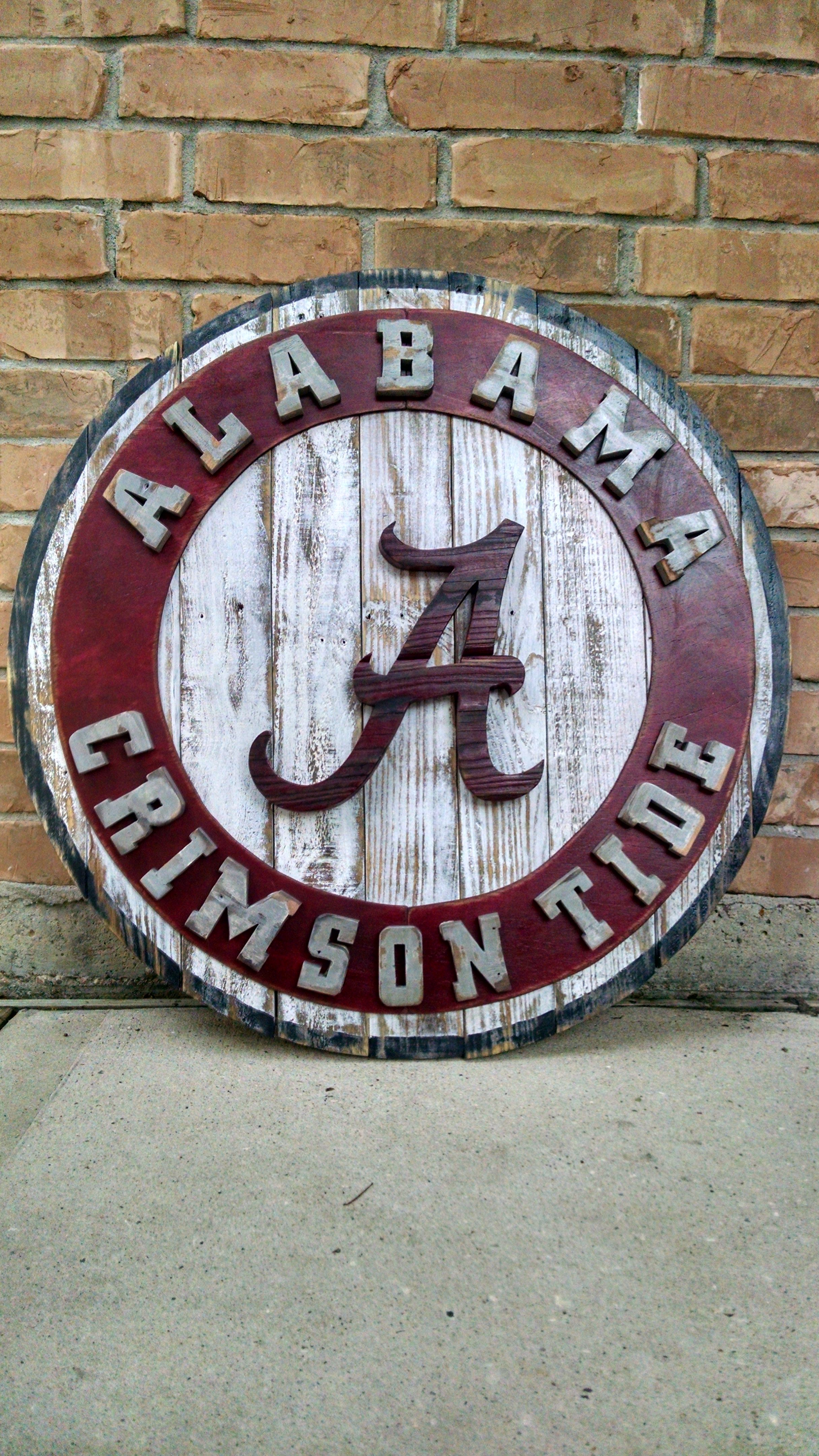 Reclaimed Wood Alabama Crimson Tide Logo Sec Roll Tide