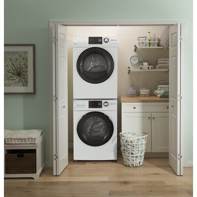 Ge Appliances 4 3 Cu Ft High Efficiency Electric Dryer Wayfair In 2020 Laundry Room Storage Shelves Stacked Laundry Room Laundry Room Storage
