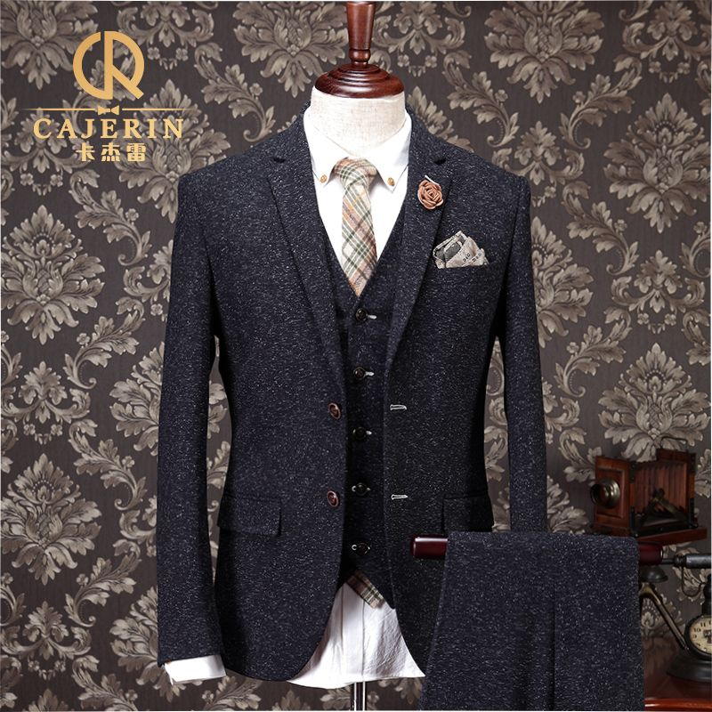 Vintage Thick Christmas Tweed Suit Men Slim Fit Grey Tuxedo ...