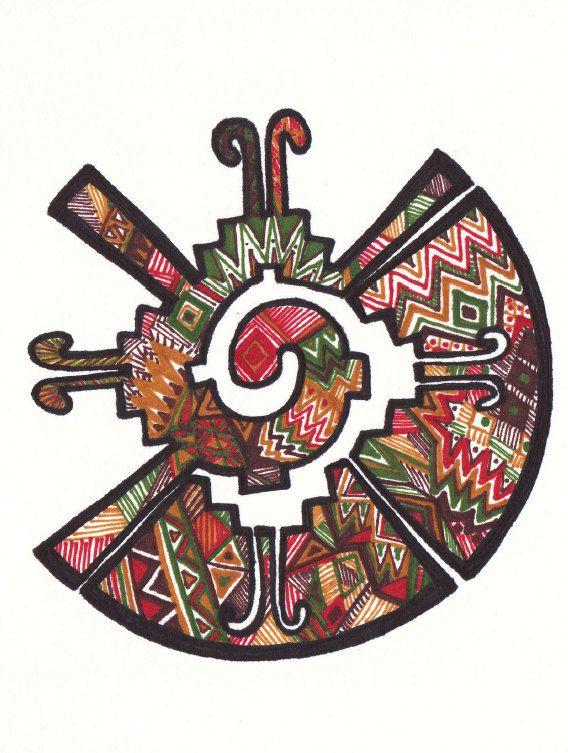 Quetzal Mayan Symbol Hand-drawn zent...