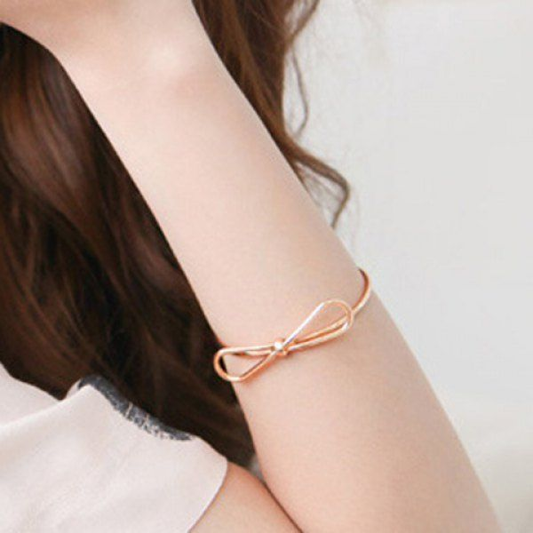 Chic Solid Color Hollow Out Bowknot Cuff Bracelet For Women