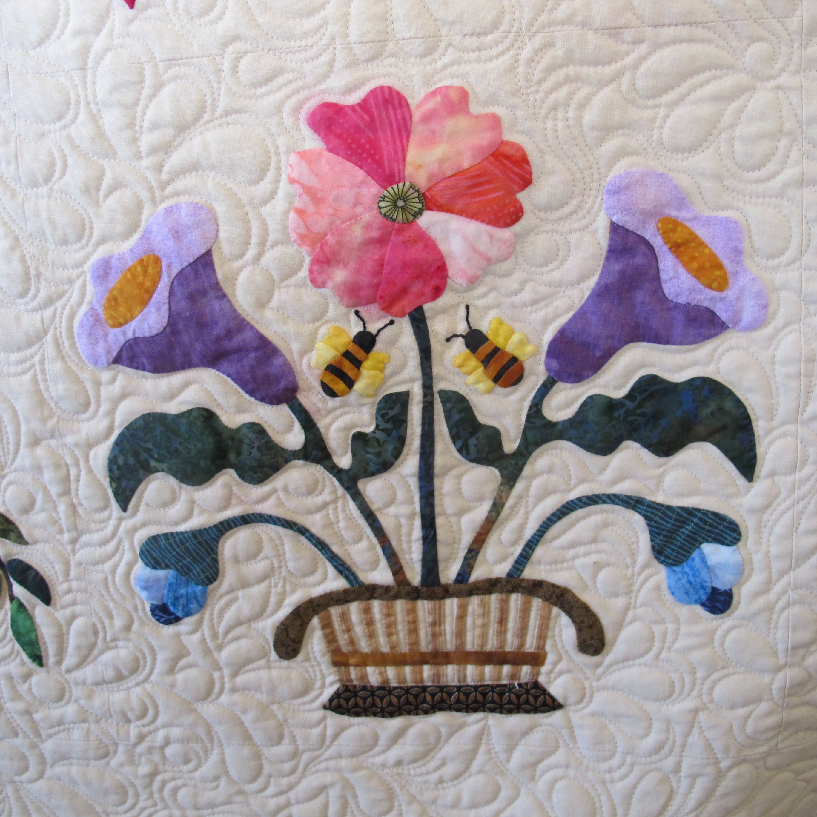 Flower basket applique quilt block from Heartland by Janet Beyea ... : quilting from the heartland - Adamdwight.com