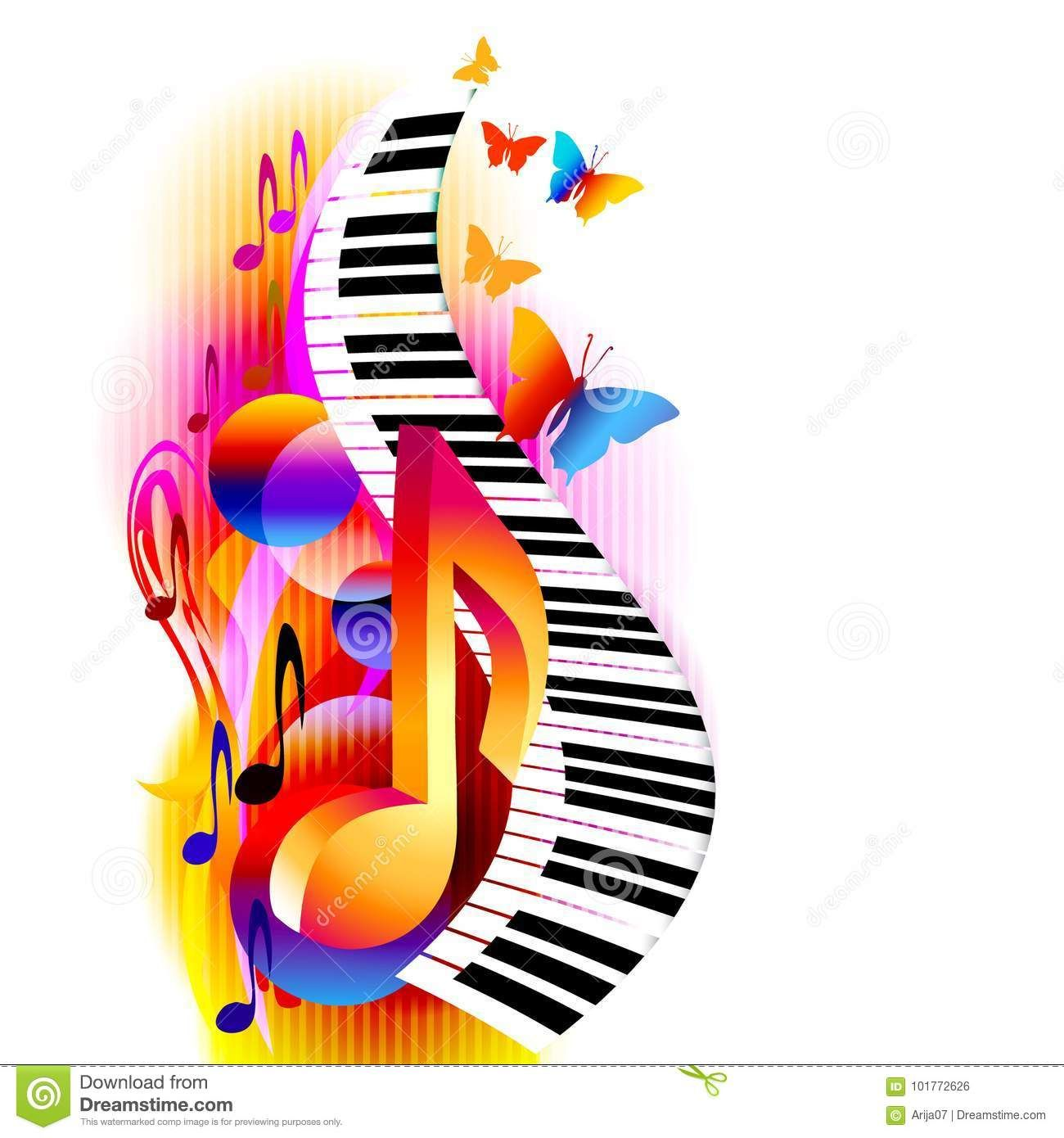 Colorful 3d Music Notes With Piano Keyboard And Butterfly Stock Vector Illustration Of Illustration Organ Music Notes Art Music Illustration Music Painting