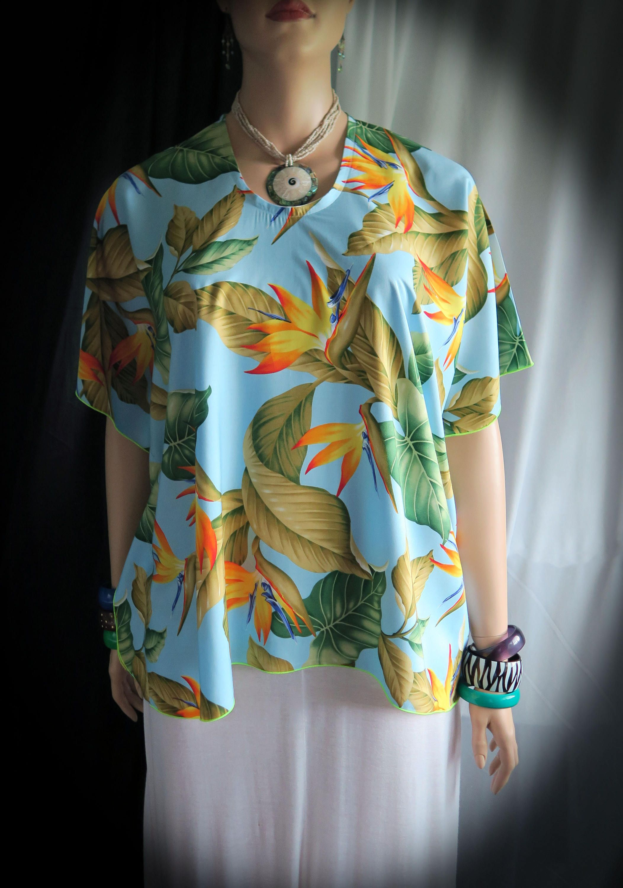 59fcea5fb Hawaiian Blue Paradise Woman Polynesian Butterfly Blouse Shirt ...