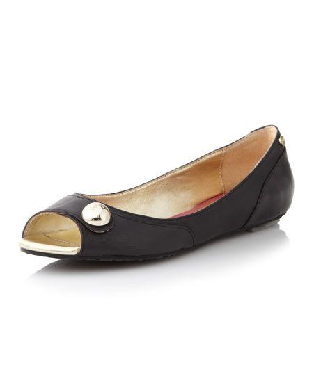 184afea841c9 Last Call black peep toe flats