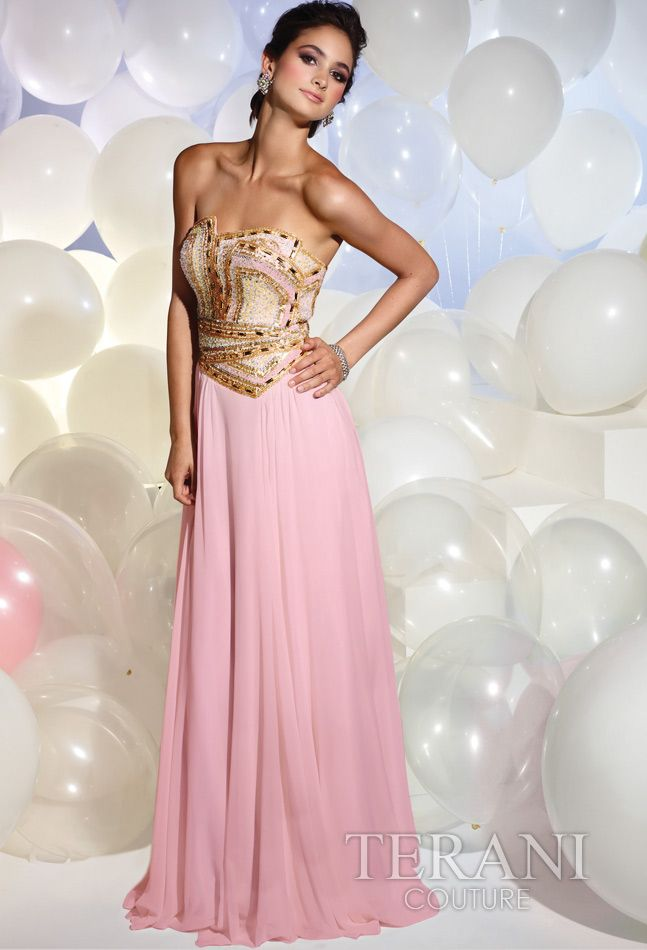 Terani P613 - Pink Strapless Chiffon Gown with Gold Beading - Prom ...