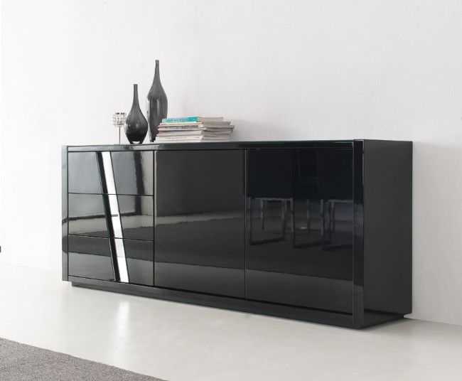 Massari Buffet 1800mm X 750mm 400mm Black High Gloss Unit