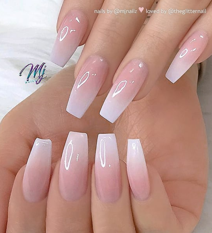 50 Pretty French Pink Ombre And Glitter On Long Acrylic Coffin Pink Ombre Nails Pink Acrylic Nails Coffin Nails Designs