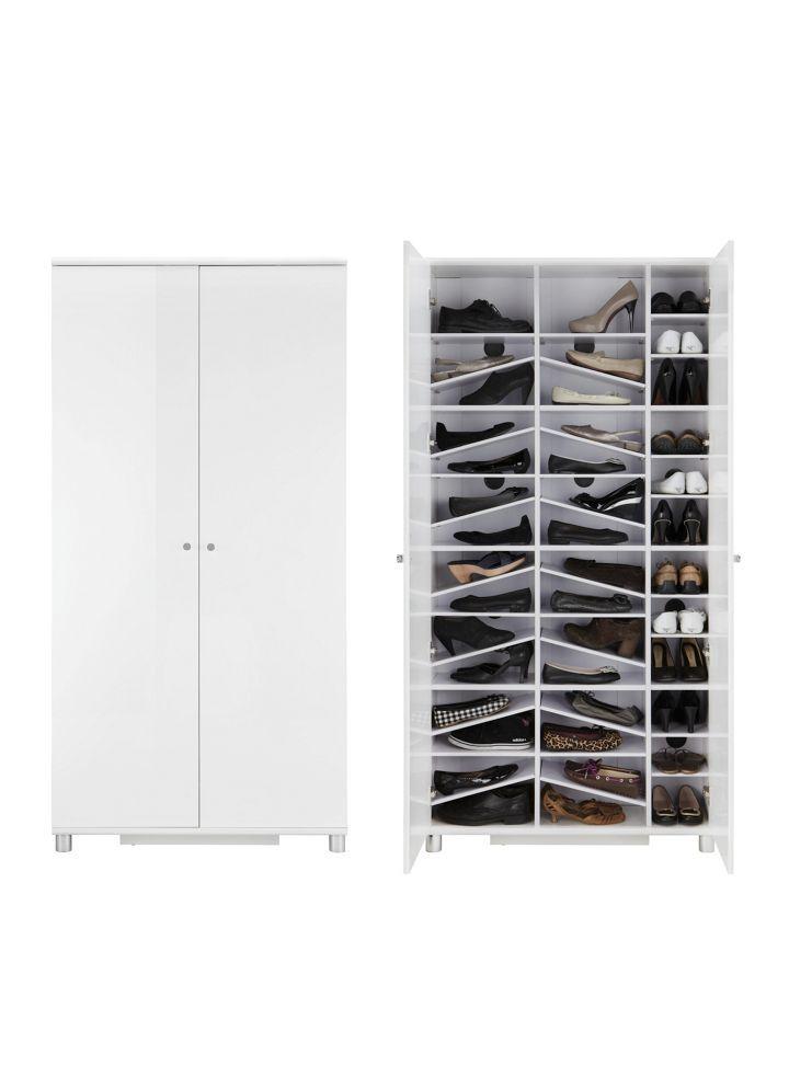 SCHUHSCHRANK Weiß Silberfarben/Weiß, MODERN
