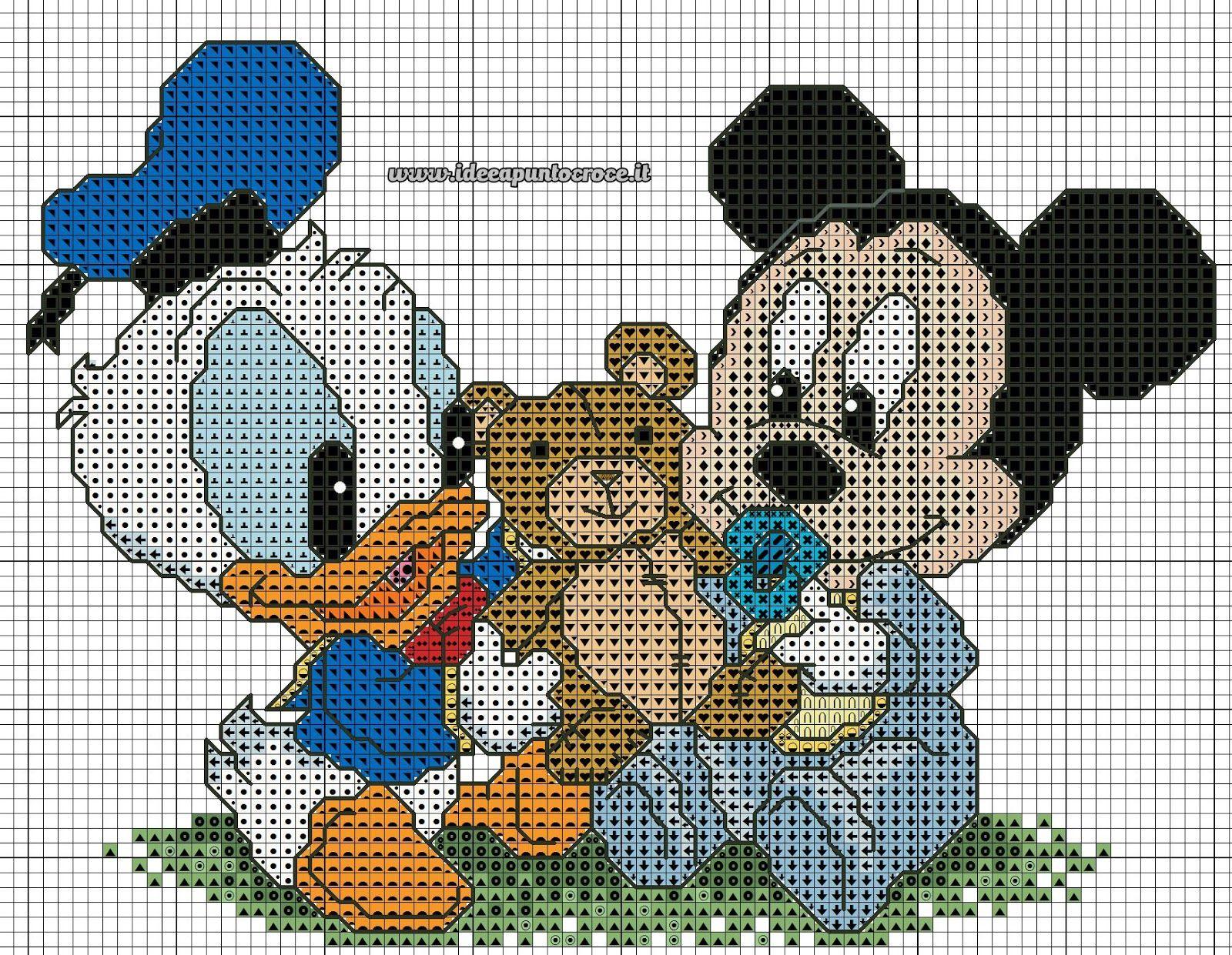 SCHEMI DISNEY A PUNTO CROCE: SCHEMI BABY MINNIE E TOPOLINO | Knit ...