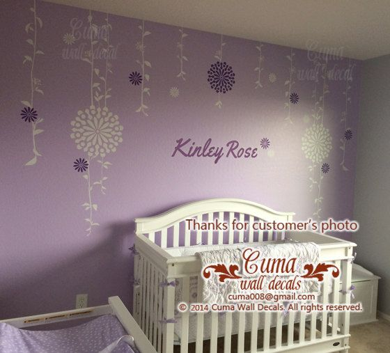 Baby Girl Wall Decals Name JJ Cole Sweet Primrose Bedding By Cuma, $79.00