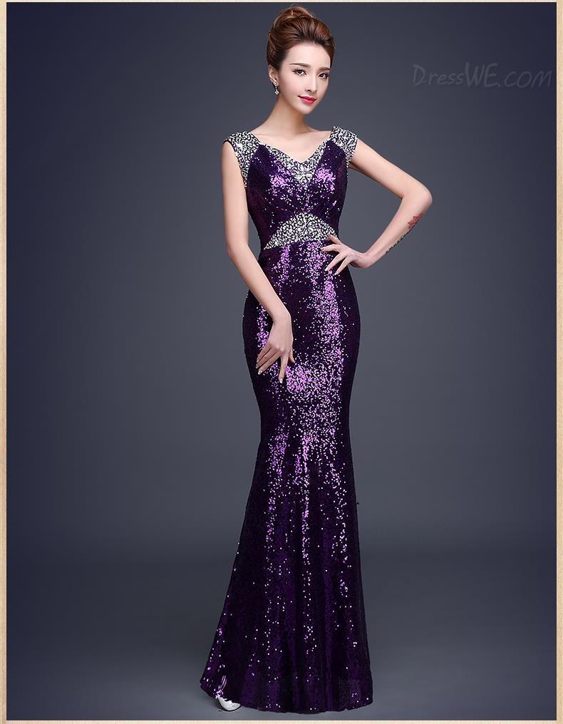 Shining sequins vneck beading mermaidtrumpet prom dress hejab