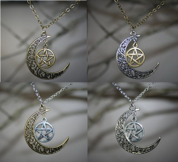 Pentacle and moon pendant wiccan jewelry antique bronze and pentacle and moon pendant wiccan jewelry antique bronze and antiqued silver jewelry tribal celtic moon and pentacle necklace pagan aloadofball Image collections