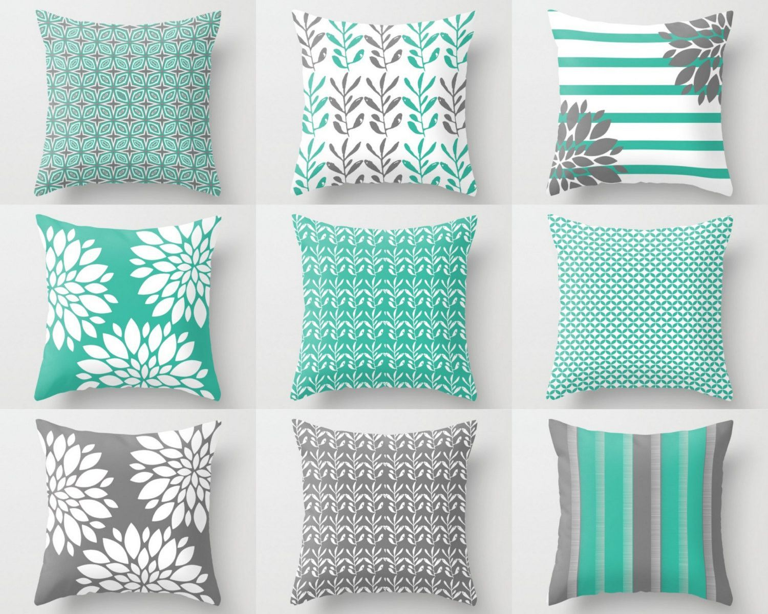 Pillow Covers Throw Pillow Covers Turquoise Grey White Spring Pillow Covers Mix And Match Decorative Turquoise Throw Pillows Spring Pillows Throw Pillows