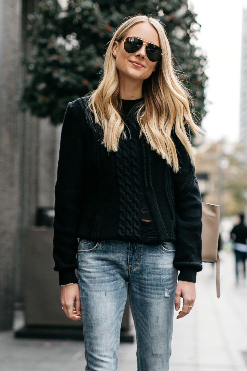 e1ad6416c Blonde Woman Wearing Frame Black Cable Knit Sweater Denim Split Hem Skinny  Jeans Celine Aviator Sunglasses Fashion Jackson Dallas Blogger Fashion  Blogger ...