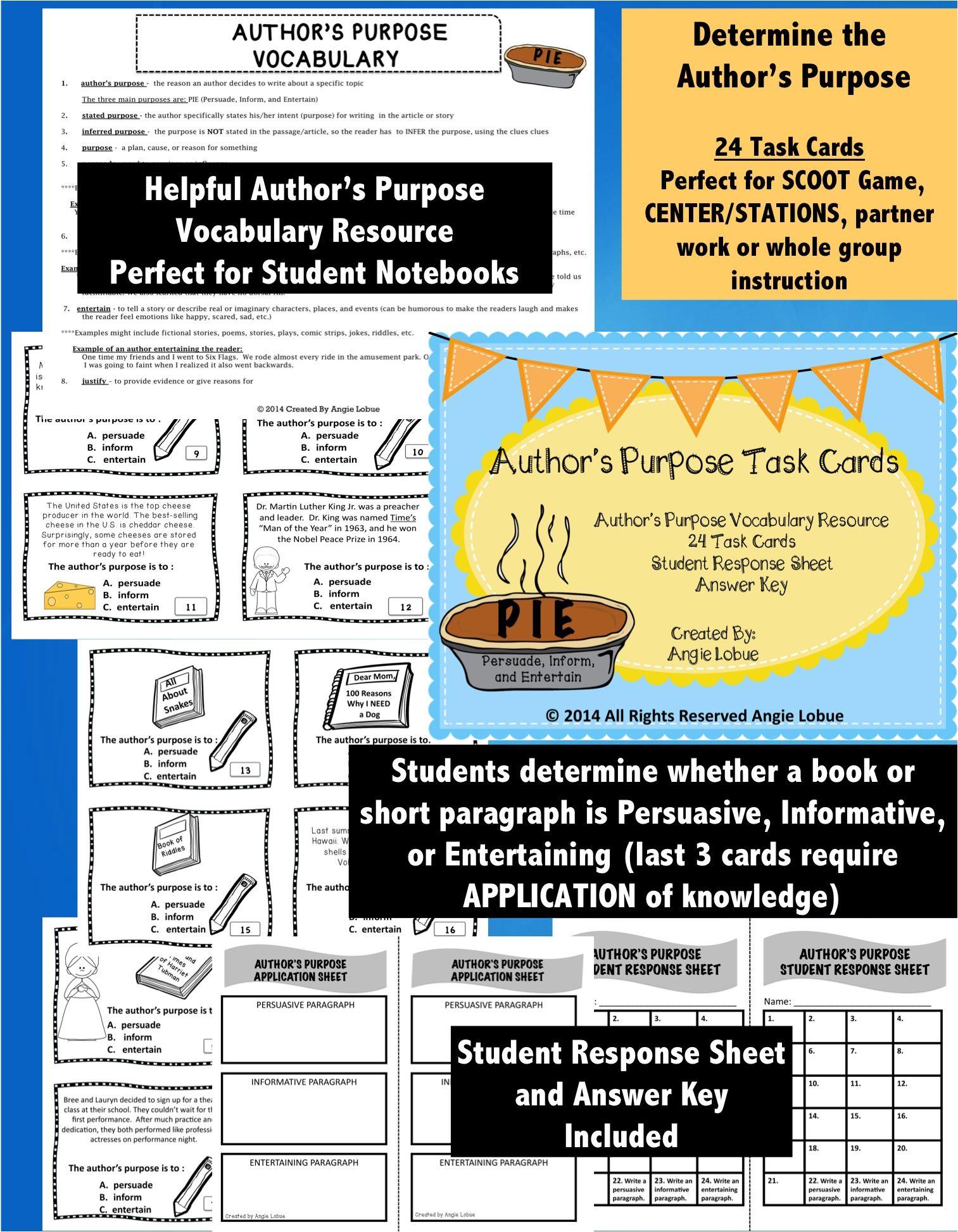 Author S Purpose Task Cards Amp Vocabulary Resource
