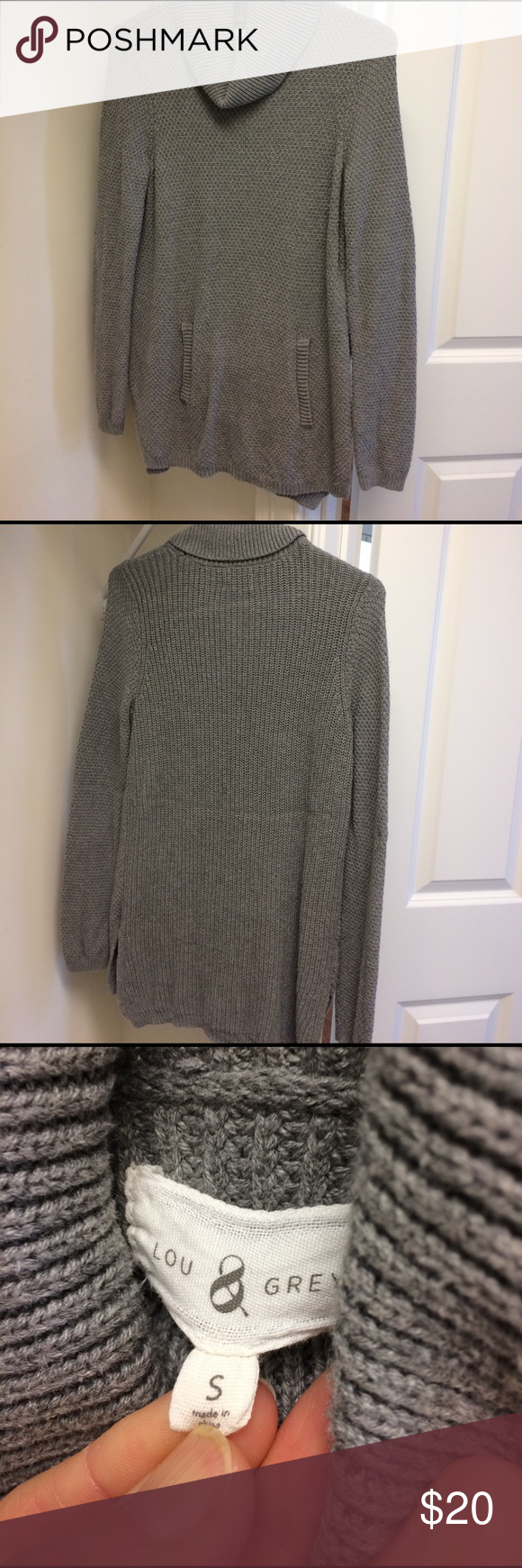 """Lou & Grey long Tunic sweater Lou & Grey cowl neck cotton 53% rayon 40% nylon 7% soft sweater. Length 29"""" front 31"""" back with pocket in front. Gently worn. No signs of wear. Smoke and pet free home. Lou & Grey Sweaters Cowl & Turtlenecks"""