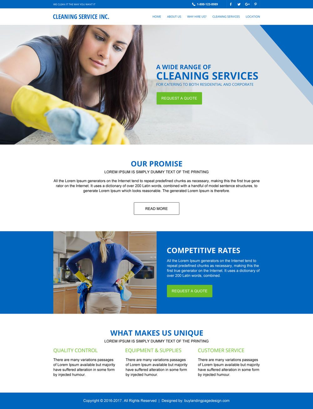Cleaning Services Responsive Website Template Design  Cleaning