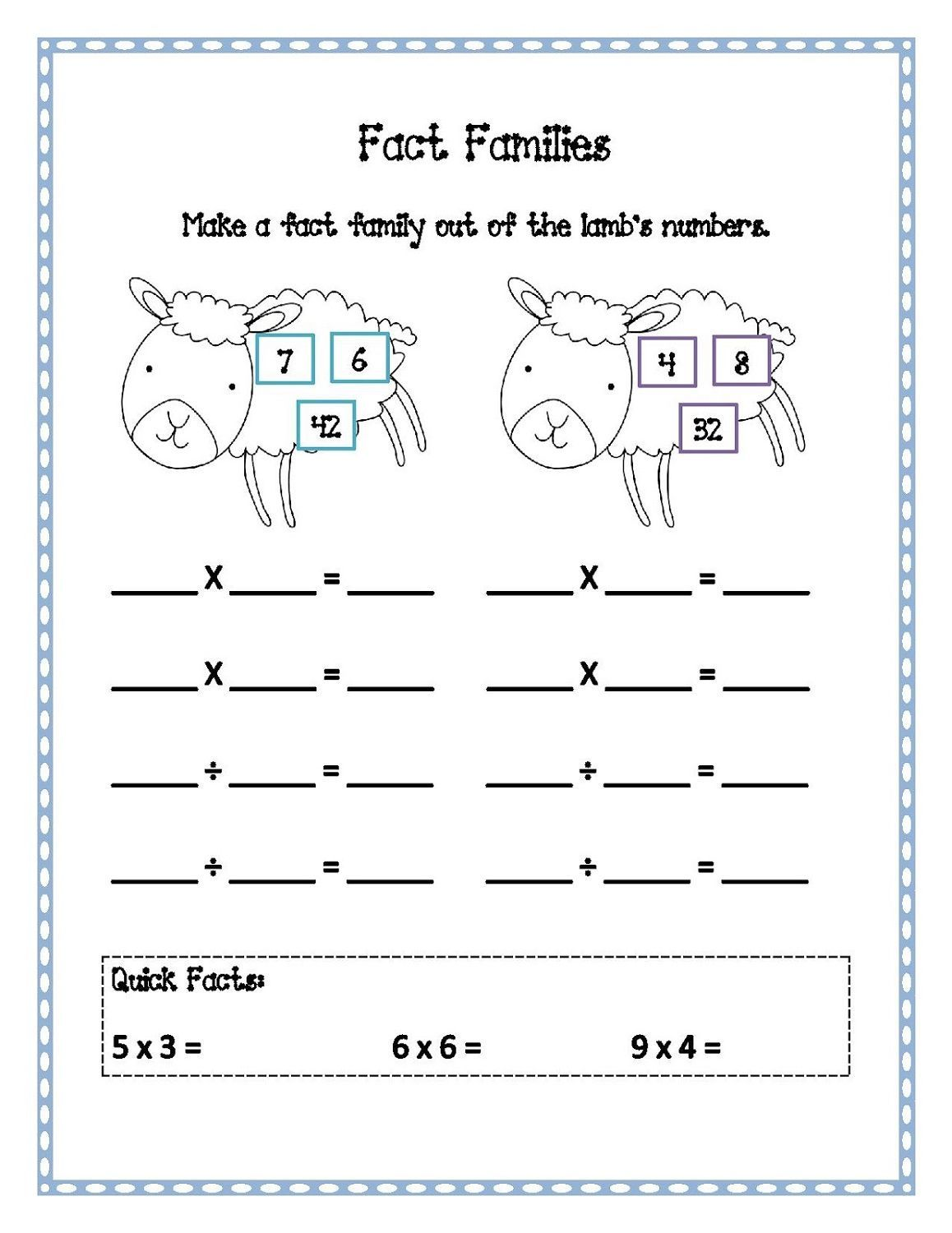 Printable Fact Families Worksheets