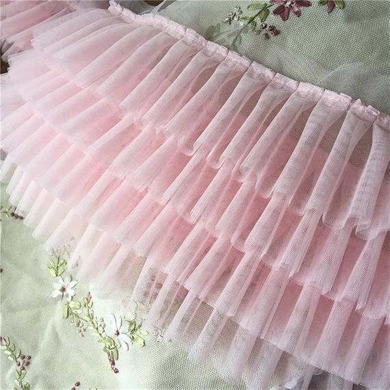 Pink 4 layers high density pleated tulle lace trims ruffled mesh trimmings for wedding dress dolls skirt hem 22cm 8.6″ BYDC192 – ölçme kesme