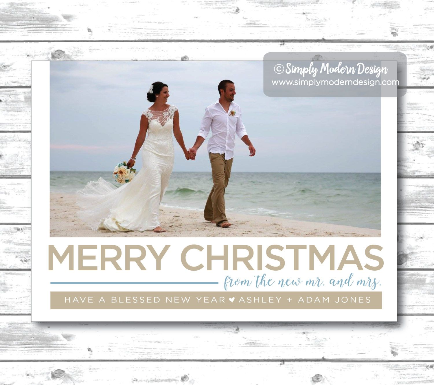 Holiday Christmas Card Merry Christmas From The New Mr And Mrs