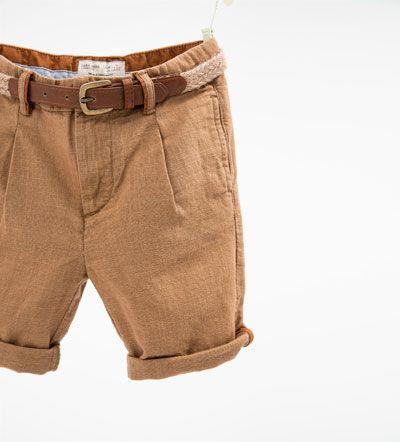 unos dias como comprar detallado Bermuda lino cinturón-PANTALONES-NIÑO | 4-14 años-NIÑOS ...