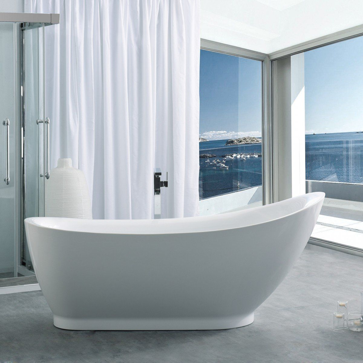 Jamison 71 Inch Acrylic Slipper Freestanding Tub No Faucet