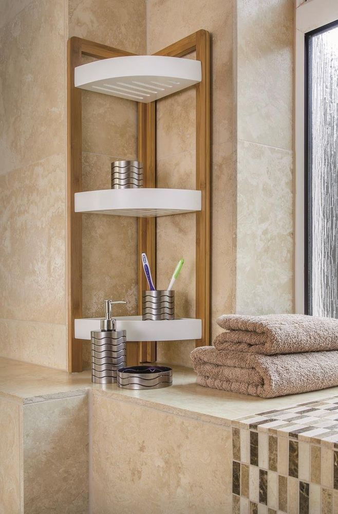 Bamboo 3 Tier Bathroom Shower Corner Caddy6 Standing Tidy Organiser ...