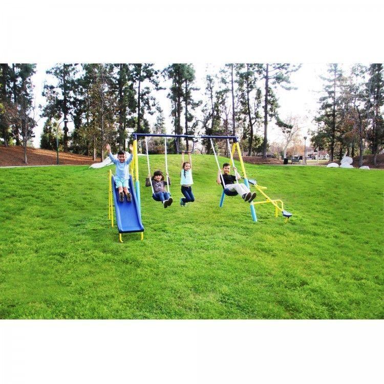 Metal Swing Set Kids Outdoor Activity Center Gym Playhouse Slide