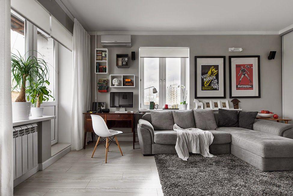 Blog Wnetrzarski Design Nowoczesne Projekty Wnetrz Jednopokojowe Mieszkanie 30m2 B Gray Living Room Design Modern Grey Living Room Small Apartment Design