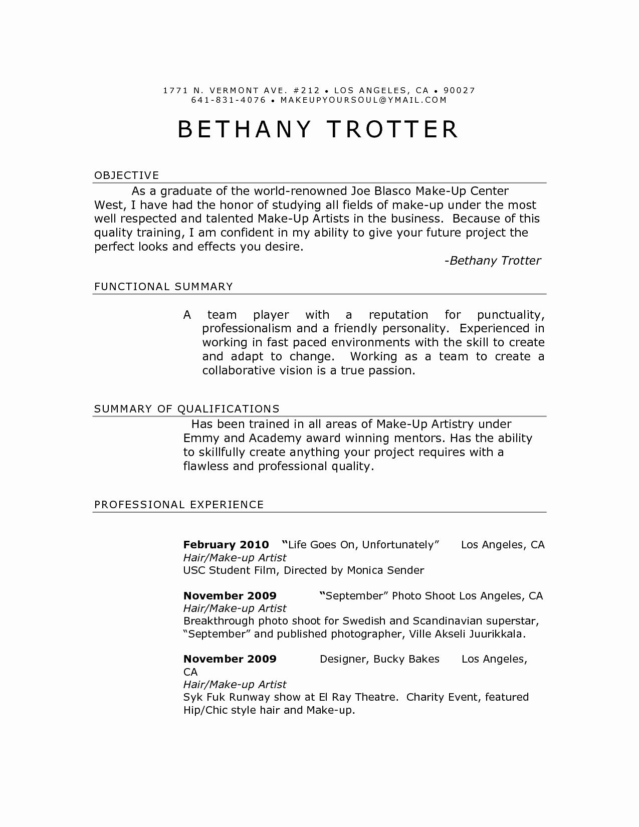 Make Up Artist Resume Beautiful Makeup Artist Resume