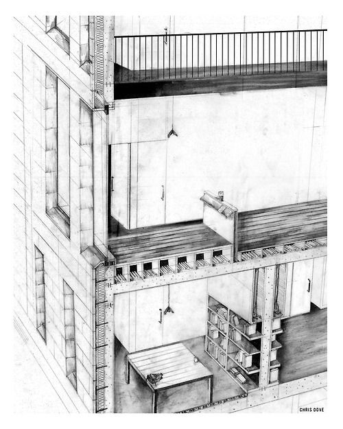 Scottish Literary Institute:  1:20 Construction Sectional Drawing. This is a drawing I submitted for a technical assignment in university. The drawing was an exploration into the skin and the fabric of my proposed idea, attempting to understand the layering and construction methods behind the project, whilst showing some of the character and details of interior space. Two birds and one stone… maybe…