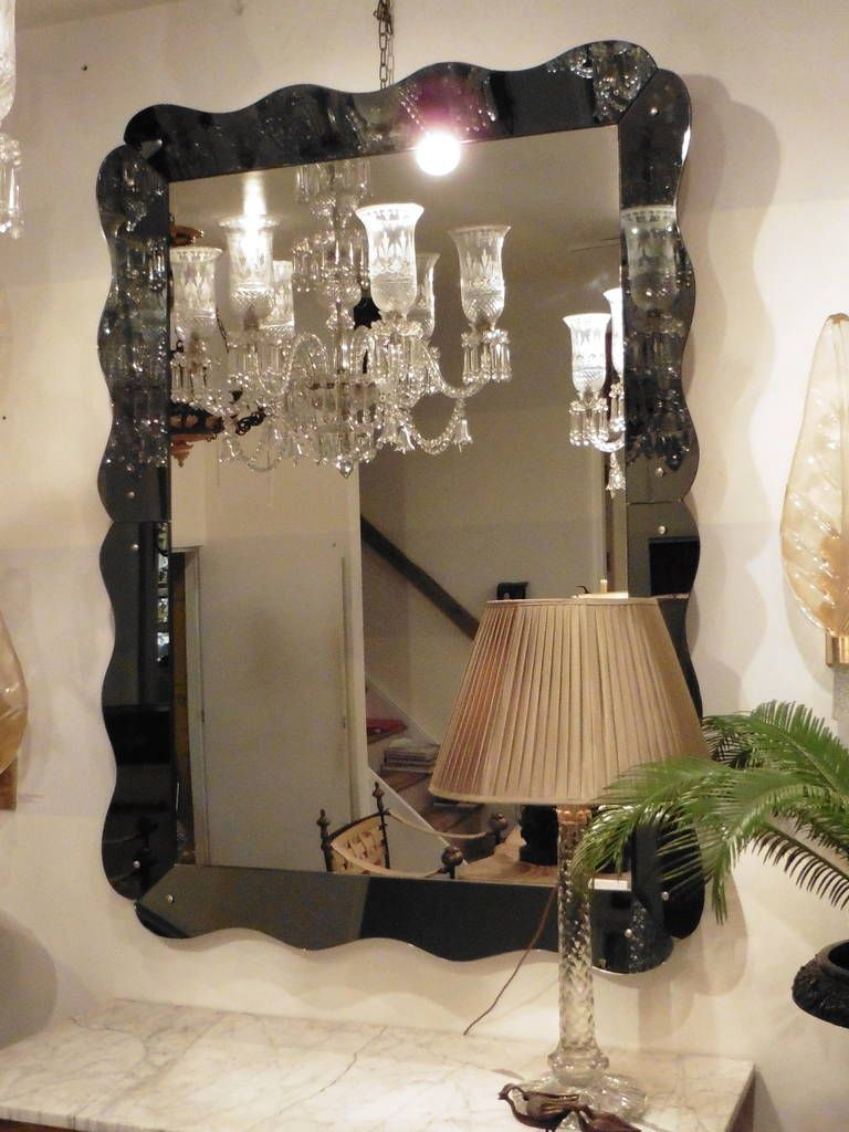 Large Venetian Style Mirror with Scalloped Grey Mirrored Frame ...