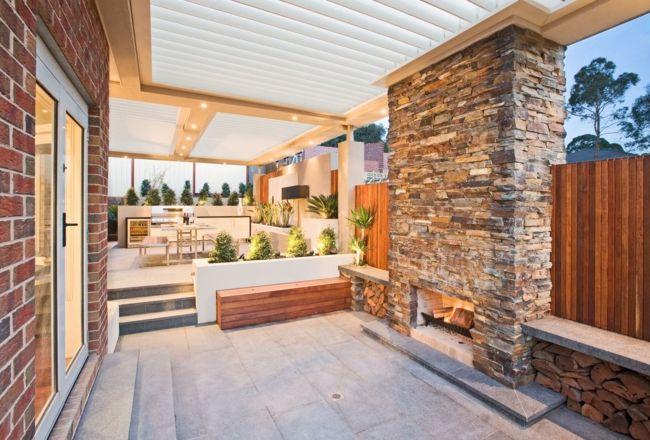 freien stein pergola sitzecke bank mit holz unten architecture terrasse garten und garten. Black Bedroom Furniture Sets. Home Design Ideas