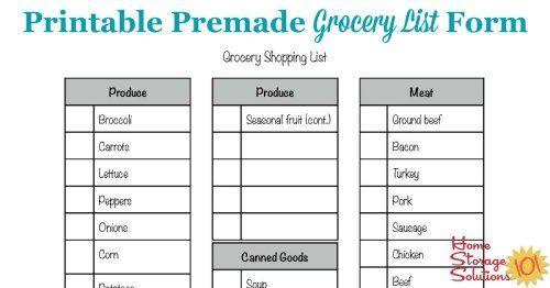 Free Printable Grocery List Form Free printable and Free