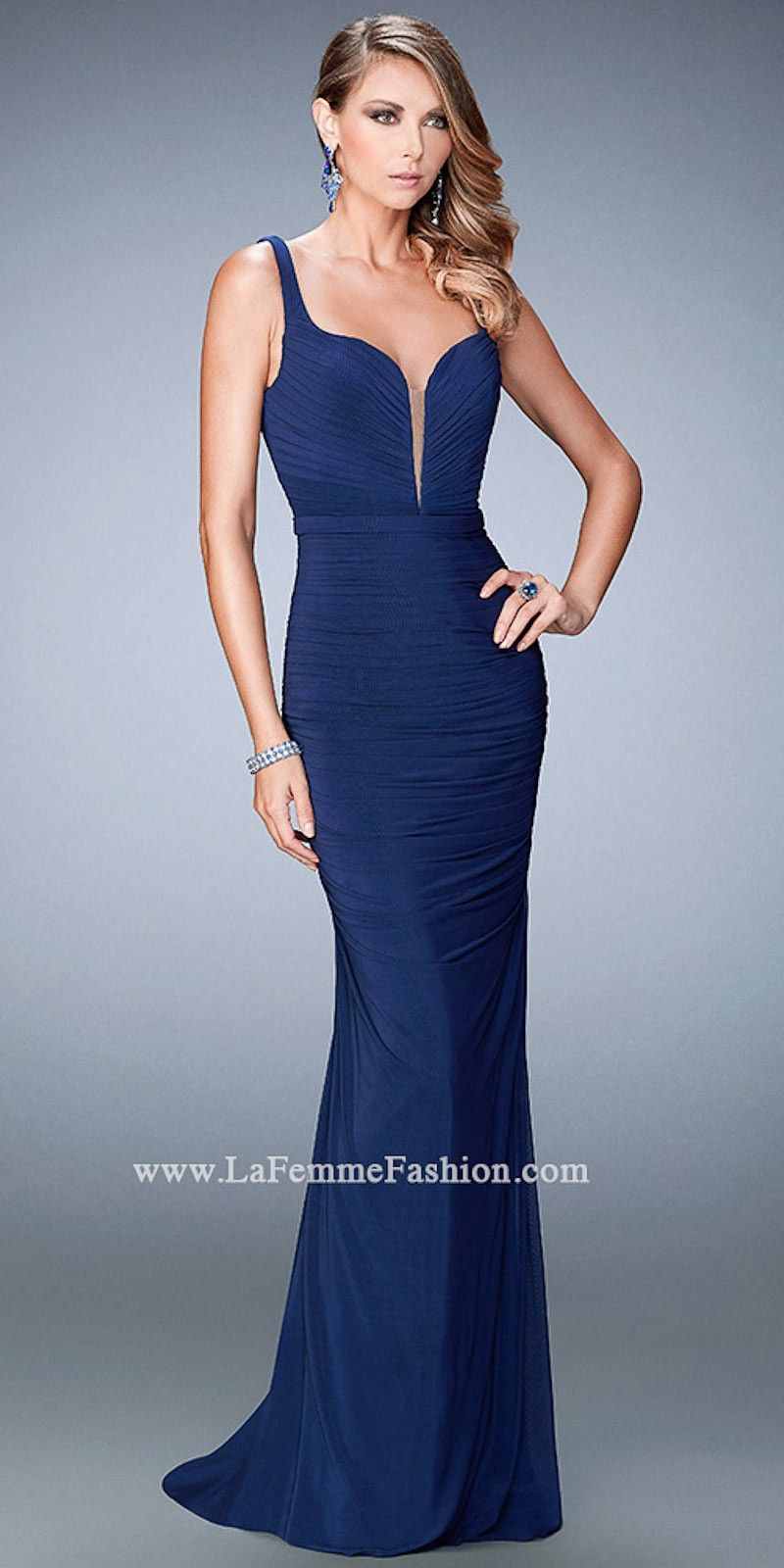 Ruched plunging neckline prom dress by la femme glitzy gowns