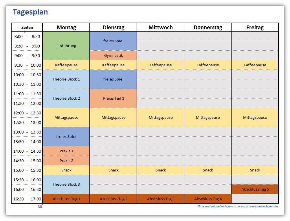 Tagesplan Fur Eine Woche Excel Vorlage Tagesplan